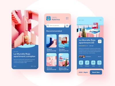 La Muralla Roja - Booking app house colorful design app design app ui apartment product design travel mobile app booking creative ui layout typography interface minimal clean ui design ux
