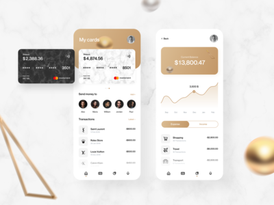 Banking app - Mobile app cards gold send money product design mobile app store luxury transfer money app finance app banking design creative typography interface minimal clean ui design ux ui