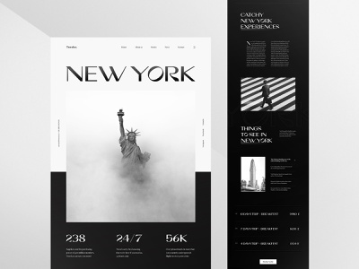 Travel Website Design web ux minimalist bold ux design vacation black and white landing page layout new york travel agency website web design creative typography interface minimal clean ui design ui