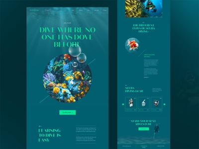Scubadiving website design dark scuba diving fish ux design ecommerce design ocean layout travel underwater dive landing page website web design creative typography interface minimal clean ui ux