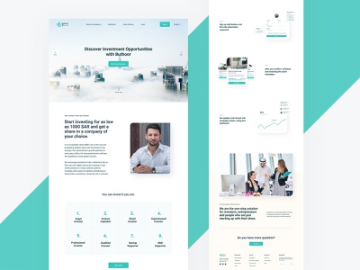 Buthoor Crowdfunding Platform clean art direction startup corporate investing home page landing page gulf platform crowdfunding design website web design creative typography interface minimal ui ui design ux
