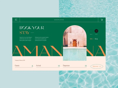 Amanjena Hotel & Resort door destination travel resort pool marrakech booking hotel layout web website web design creative typography interface minimal clean ui design ui ux