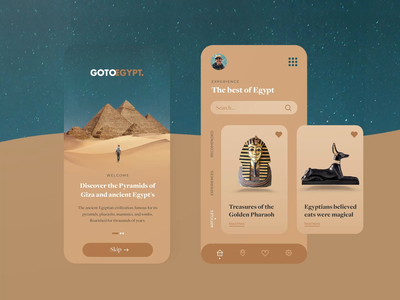 GOTOEGYPT - Mobile app colors trendy mobile app design 3d vocation motion design animation interaction sky sand desert egypt dark creative typography interface minimal ui design ui ux