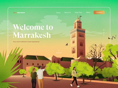 GotoMarrakesh website design character digital painting vector art drawing garden vacation marrakech gradients travel web design layout landing page illustration creative typography interface minimal clean ui design ux