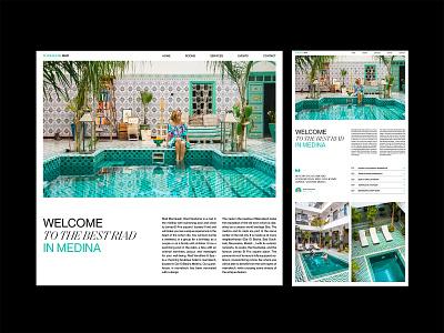 MarrakeshRiad website design layout booking hotel riad marrakesh travel swimming pool landing page website web design creative typography interface minimal clean ui design ui ux