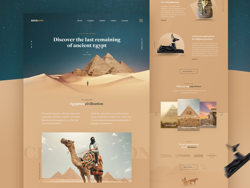 GOTOEGYPT - Travel Landing Page website layout creative typography interface landing page landing vacation sand travel agency travel egypt webdesign ui minimal web design ux ui design desert clean