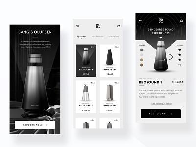 Speaker Store App speakers fashion app dark fashion gradients store products add to cart ecommerce app ecommerce interface clean app design shop interaction ui design ux ui minimal futuristic