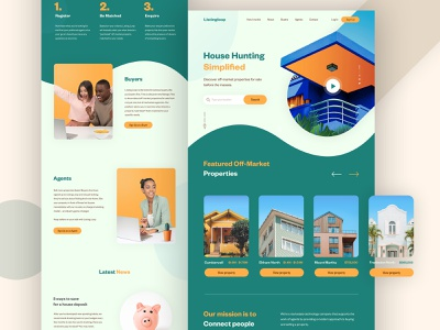 LISTINGLOOP - Real Estate Landing Page website homepage creative green typography landing page interface real estate property layout house minimal flat web design gradients ux ui ui design clean