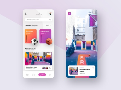 Court Finder - AR app mobile app augmented reality vr camera app design app football basketball dribbble court ar typography gradients design interface minimal clean ui ui design ux