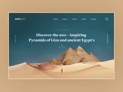 GOTOEGYPT - Travel Landing Page travel agency landing page desert sand layout video motion design interaction animation web ui web design website typography creative clean interface minimal ui design ux