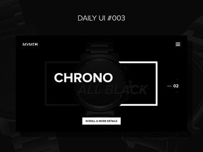 Daily UI Challenge #003 — Landing Page page landing challenge interface watches black all chrono ui dailyui mvmt