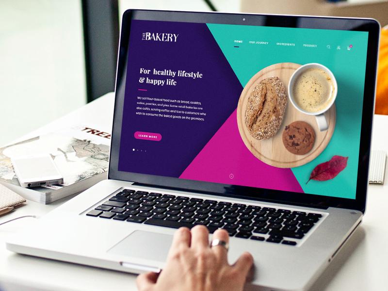 Website Design - The Bakery food geometric polygon modern home page web desgin website bakery logo illustration ui design