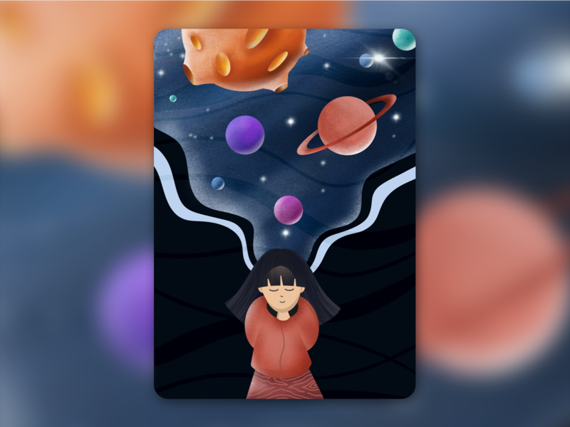 Universe Inside My Head saturn sun galaxy daydreaming branding dream stars planets imagination universe colors design flat vector ui illustration