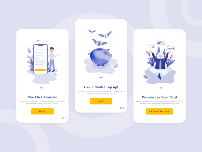 Onboarding Banking Apps card saving transfer onboarding ui simplicity banking app banking indigo blue onboarding screen ux typography icon colors flat design illustration branding vector ui