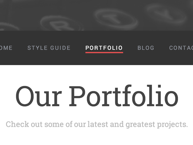 Menu & Title Fonts red gray white menu underline serif sans-serif