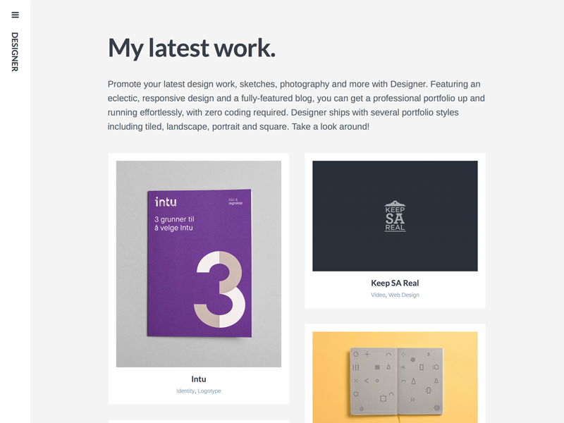 Designer WordPress Theme portfolio projects design minimal photography art wordpress theme