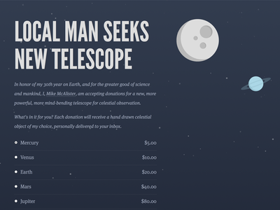 Local Man Seeks New Telescope parallax dark planets sans-serif serif donation league gothic css space