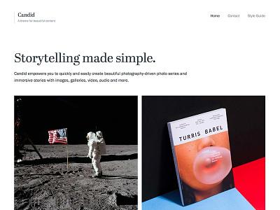 Candid WordPress Theme minimal design simple layout masonry titles abril typekit serif clean white