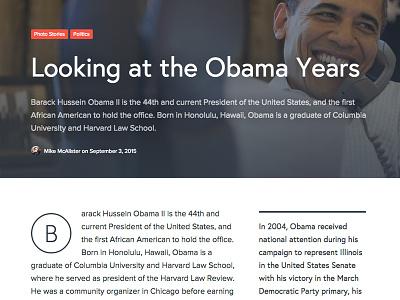 Magazine byline layout news magazine obama article drop cap header