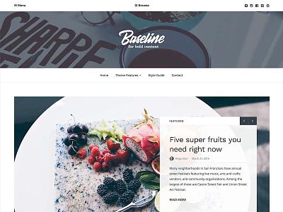 Baseline WordPress Theme homepage header clean white columns food publishing magazine sans-serif serif