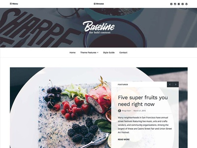 Baseline WordPress Theme homepage header clean white columns food publishing magazine sans-serif serif