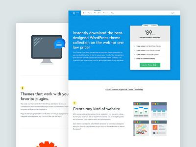 Theme Club Design Reboot clean responsive sans-serif landing page blue svg table pricing wordpress