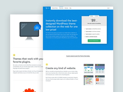 Theme Club Design Reboot clean responsive sans-serif landing page blue svg table pricing wordpress