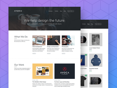 Atomic - Business and Portfolio WordPress Theme modern clean one page hero homepage woocommerce ecommerce business photography wordpress portfolio