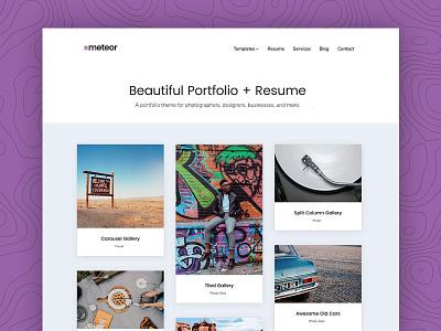 Meteor - A beautiful portfolio + resume WordPress theme service resume video photos gallery carousel masonry grid portfolio