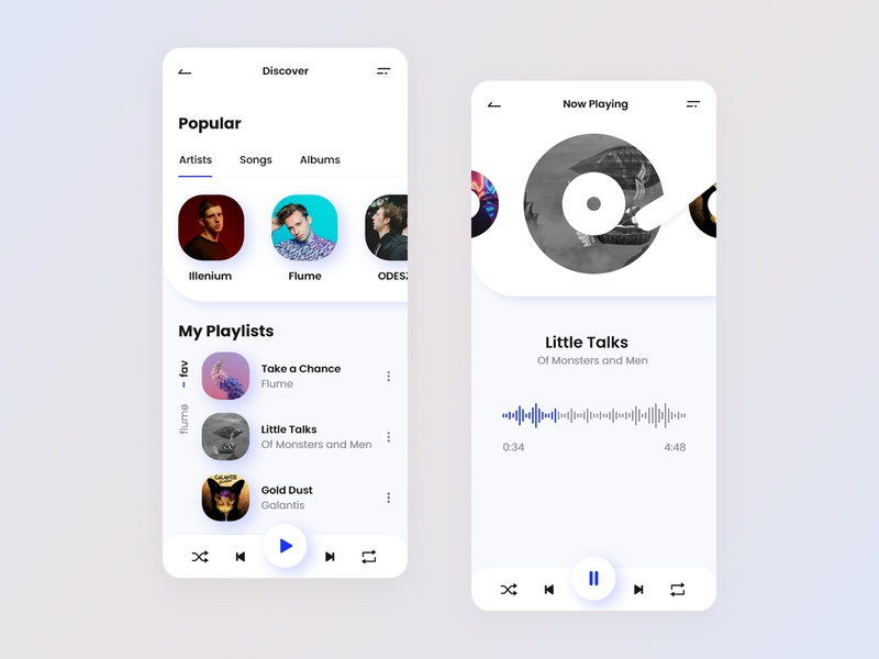 Music Player - Mobile App flat mobile design mobile app design daily app design animation music player application app mobile ux ui player music