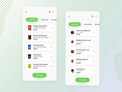 Yerba mate shop - Mobile app (part 1) interaction e-commerce shop store mate yerba minimalist xd adobe minimal flat design app design mobile daily ux animation application ui app