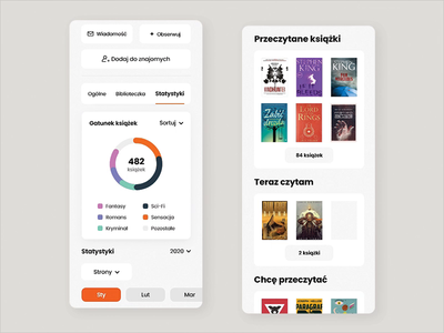 User Profile - Interaction profile user book interaction aplikacja czytac lubimy minimal flat mobile app mobile design design daily app design mobile ux application animation ui app