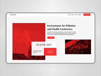Air Pollution Conference Website flat design website design web protopie figma conference pollution air webdesign ux ui interaction animation website