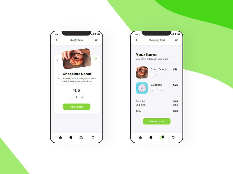 Shopping Cart UI Design application daily xd user interface minimal flat mobile design mobile app mobile ux ui app design design app animation