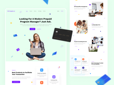 FinTech Prepaid Card Landing Page online banking credit card bank landing page banking website design payment method animation modern design finance website najmul banking website financial services finance app finance landing web design landing page website popular shot visual design minimal