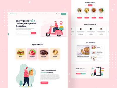 Food Delivery - Landing Page food delivery service najmul restaurant delivery website groceries payment order food website food delivery delivery service healthy food website design web design illustration landing page animation website popular shot visual design minimal