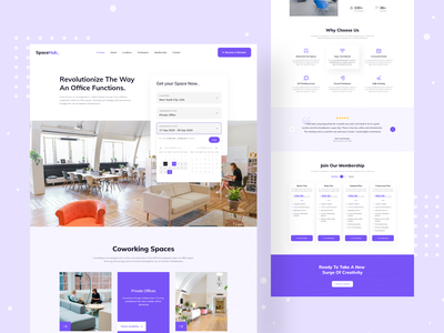 Space Hub - Co-Working Landing Page rent office space for rent interior coworkers office space najmul coworking space working space furniture ui ux clean website design web design landing page animation website popular shot visual design minimal