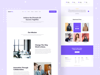 Space Hub - About Page clean ux ui furniture working space coworking space office space coworker interior office space for rent rent najmul website design web design landing page animation website popular shot visual design minimal
