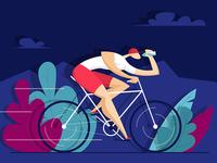 Man rides a bike