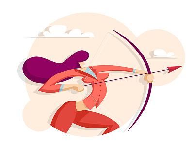 Woman shoots archery aspiration accuracy dart aim longbow suit achievement accurate winner successful goal bow success aiming shoot archery lady target businesswoman arrow
