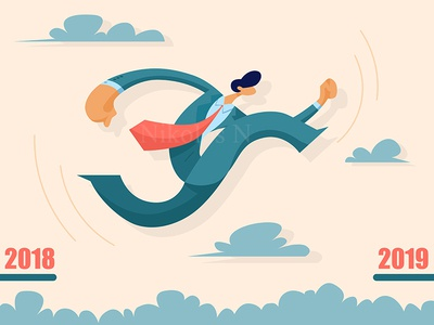 Businessman jumping from past to future
