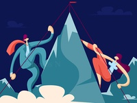 Businessman and businesswoman climb to the top of the mountain