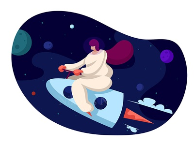 Woman astronaut discovery orbit fantasy cosmos ship sky helmet spaceship universe planet galaxy star flying astronomy fly travel rocket woman space astronaut
