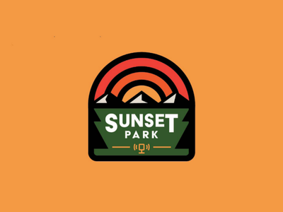 Sunset Park Podcast media trees identity design graphic design logo mark mountain nature sunset brand identity brand design branding brand identity design logo design logo podcast park badge design badge