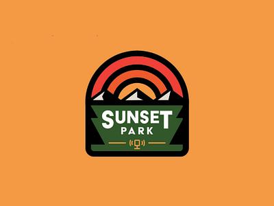 Sunset Park Podcast media trees identity design graphic design logo mark mountain nature sunset brand identity brand design branding brand identity design logo design logo podcast park badge design badge