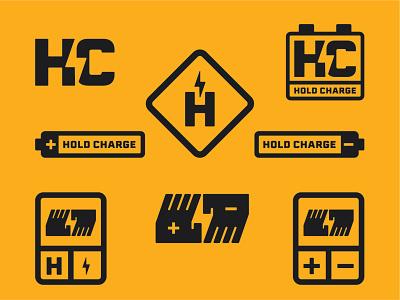 Hold Charge Badges electricity illustration luxury clean modern lightning lockups negative space badge design badge badges design brand logo design brand identity identity design identity branding logo