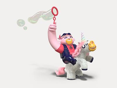 Unicorn biker rainbow bubbles biker unicorn illustration design character