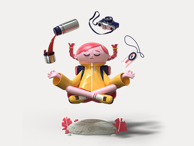 One with the forest wildlife hiking nature forest cinema 4d illustration design character