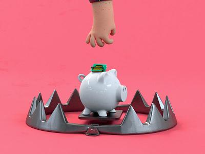 Piggybank in trouble hand bear trap bank piggy cinema 4d character run 3d animation design