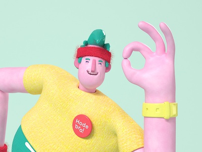 A-OKAY health mental ok happy cinema 4d character 3d animation design
